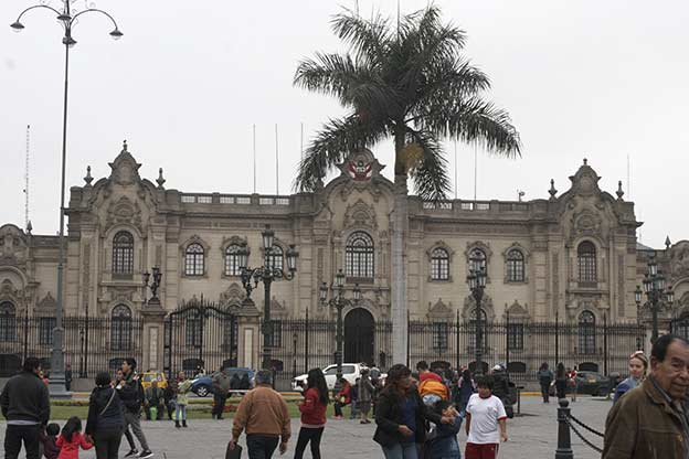 The Palace of Fransisco Pizarro seen from Plaza de Armas
