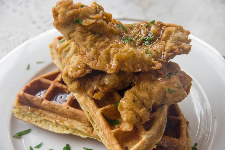 waffle de pollo crocante las bolena