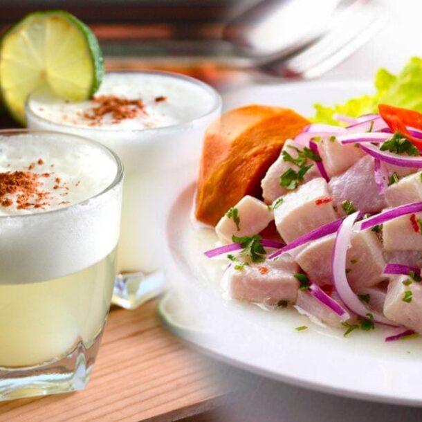 Peruvian pisco sours ceviche